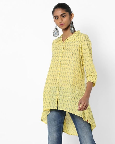 Printed Shirt Tunic With High-Low Hemline By Biba ( Yellow )