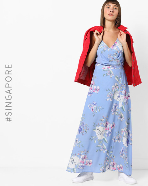 Strappy Floral Print Wrap Maxi Dress By MDS ( Multi )