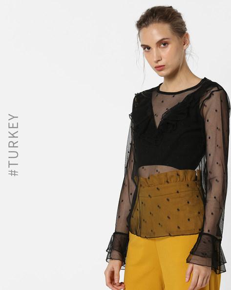Polka Dot Sheer Top With Ruffles By TRENDYOL ( Black )