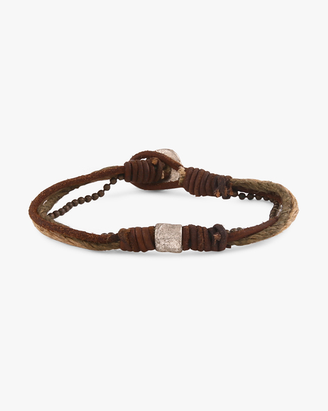 Leather Multistranded Bracelet By Ayesha ( Brown )