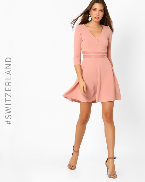Skater Dress With Surplice Neckline By TALLY WEiJL ( Blush )
