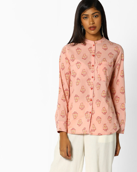 Floral Print Top With Patch Pocket By AJIO ( Pink )