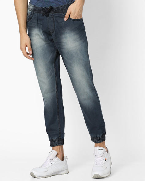 Tapered Fit Mid-Washed Jogger Jeans By DEEZENO ( Darkblue )