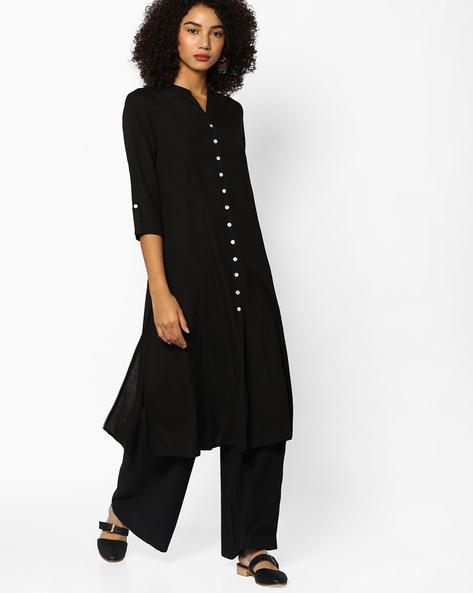 Cotton Kurta With Front-Slit Hem By Melange By Lifestyle ( Black )