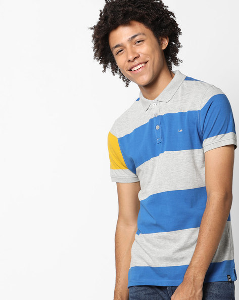 Striped Polo Cotton T-shirt By Lee ( Red )