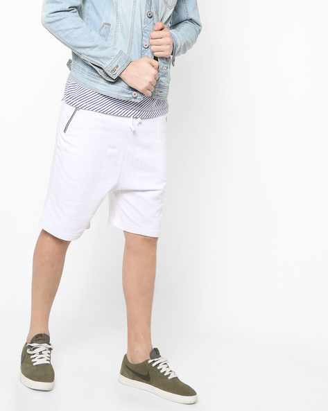Flat-Front Shorts With Drawstring Fastening By AJIO ( White )