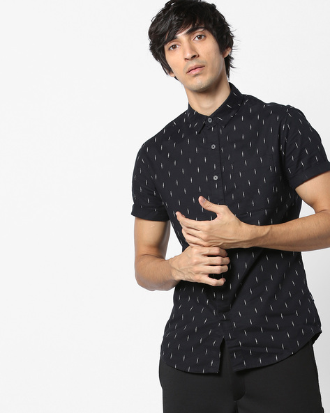 Printed Slim Fit Shirt With Patch Pocket By Jack & Jones ( Black )