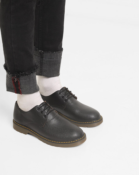 Textured Lace-Up Shoes By Piaffe ( Black )