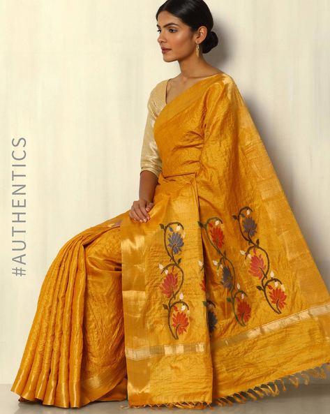 Handloom Pure Tussar Silk Saree With Zari Border By Pretty Woman ( Mustard )