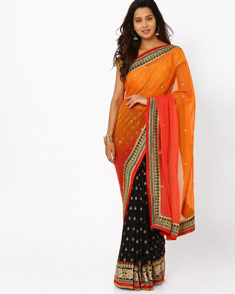Embroidered Half & Half Chiffon Saree By Florence ( Black )