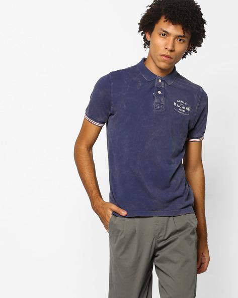 Typographic Print Slim Fit Polo T-shirt By FLYING MACHINE ( Indigo )