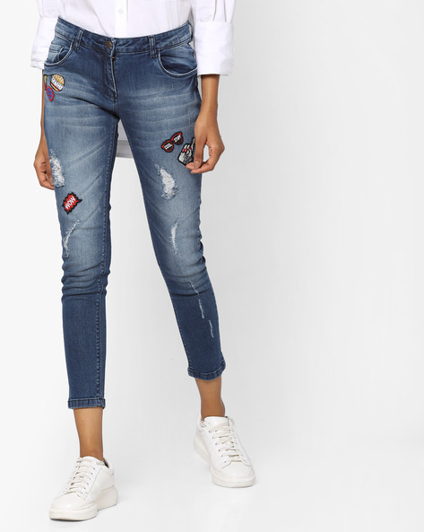 Lightly Washed Distressed Jeans By Ginger By Lifestyle ( Blue )