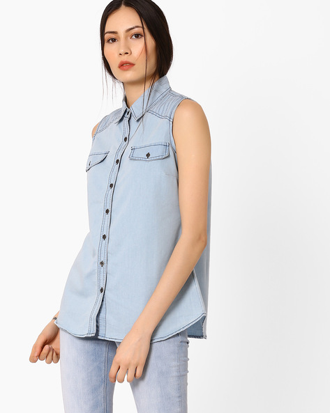 Sleeveless Denim Shirt By AJIO ( Lightblue )