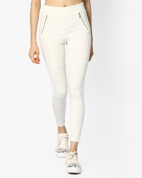 Leggings With Elasticated Waistband By CODE By Lifestyle ( White )