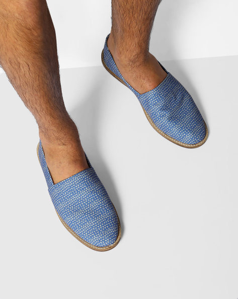 Printed Canvas Slip-Ons By Knotty Derby ( Lightblue )
