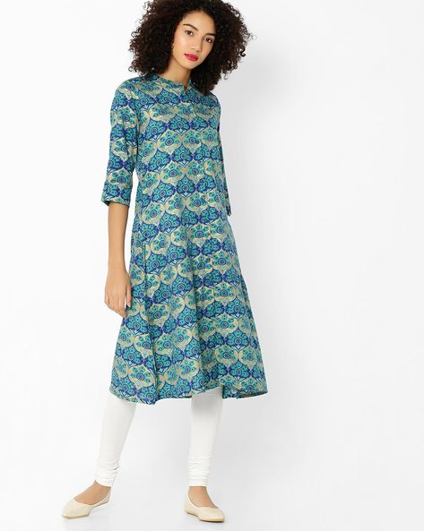 Printed Straight Kurta With Contrast Leggings By AVAASA SET ( Blue )