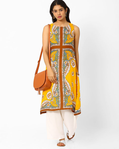 Printed Asymmetrical Kurta By Biba ( Yellow )