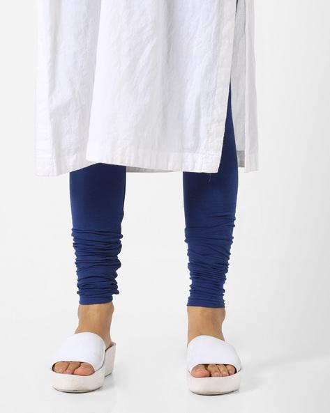 Mid-Rise Churidar Leggings By AJIO ( Blue )