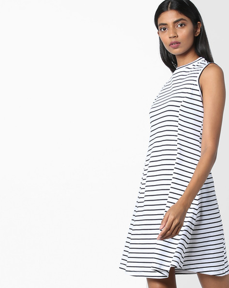 Striped Sleeveless Dress By AJIO ( Black )