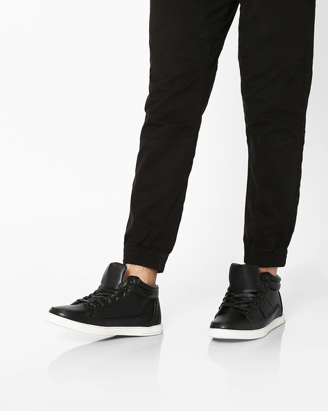 Faux-Leather Mid-Top Perforated Sneakers By AJIO ( Black )