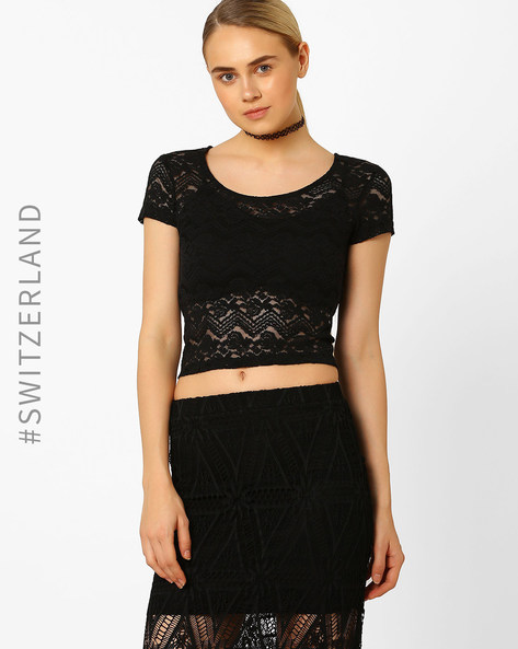 Lace Crop Top By TALLY WEiJL ( Black )