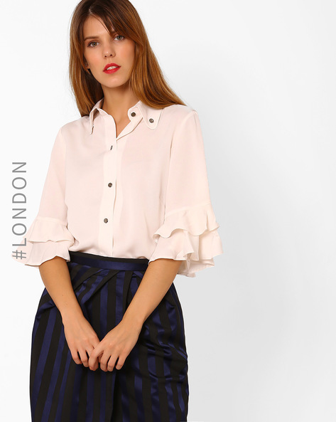 Shirt With Frill Sleeves By Closet London ( Ivory )