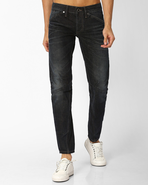 Lightly Washed Jeans With Knee Darts By VOI JEANS ( Darkblue )