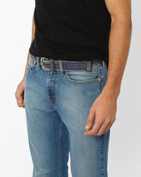 Braided Leather Belt By AJIO ( Blue )