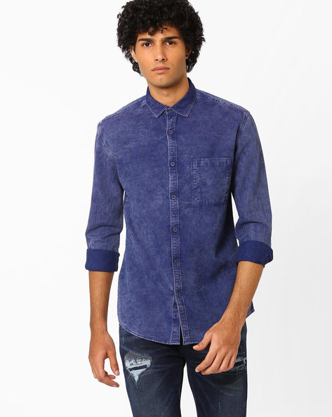 Slim Fit Shirt With Patch Pocket By Nature Casuals ( Navyblue )