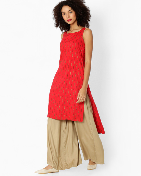 Printed Kurta With High-Low Hem By AVAASA MIX N' MATCH ( Red )