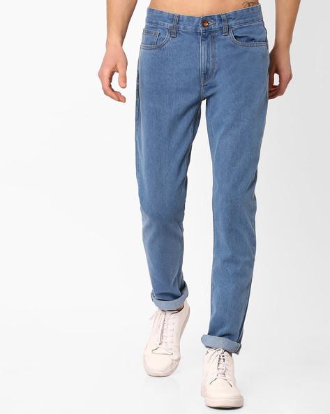 Slim Tapered Denim Jeans By AJIO ( Blue )