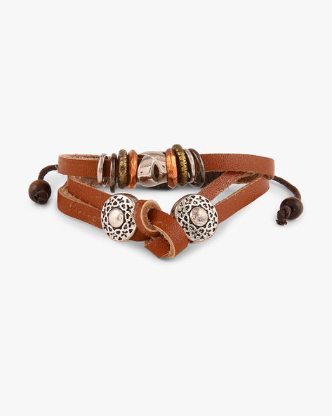Root Of Success Faux-Leather Bracelet By ALPHA MAN ( Brown )