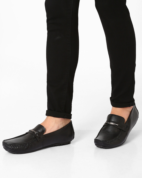 Perforated Leather Formal Shoes By Lee Cooper ( Black )