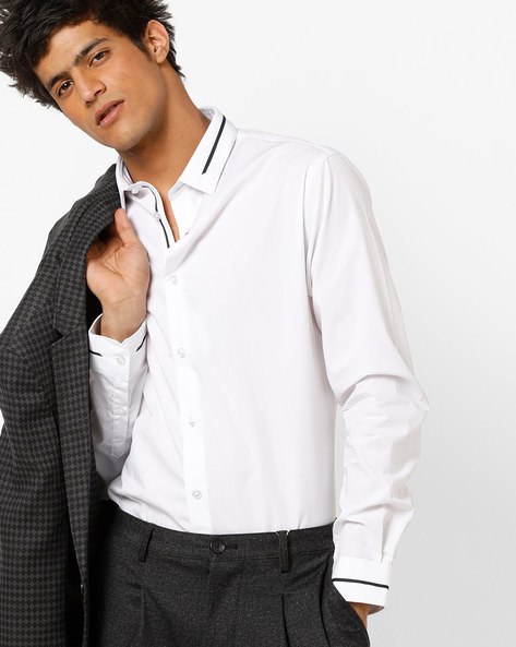 Slim Fit Shirt With Spread Collar By Celio ( White )