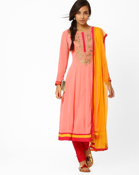 Kalidar Churidar Kurta With Dupatta By AJIO ( Peach ) - 460008168006