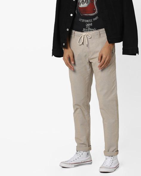 Flat-Front Trousers With Drawstring Waist By AJIO ( Khaki )