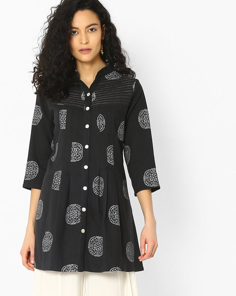 Khadi Cotton Dress With Block Print By Ek Taara ( Grey )