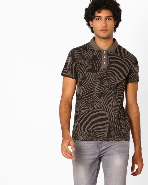 All-Over Print Polo T-shirt By AJIO ( Green )