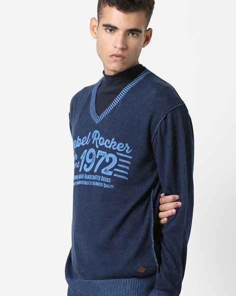 Graphic Print V-neck Pullover By DNMX ( Blue )