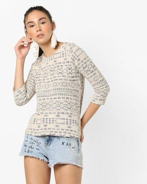Knitted Printed Top By And ( Black )