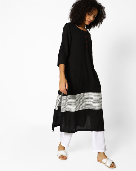 Straight Kurta With Placement Print By Project Eve IW Casual ( Black )