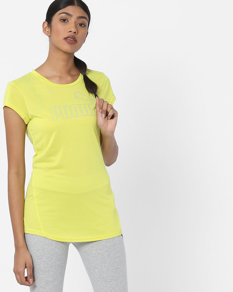 Crew-Neck T-shirt With Cap Sleeves By Puma ( Yellow )