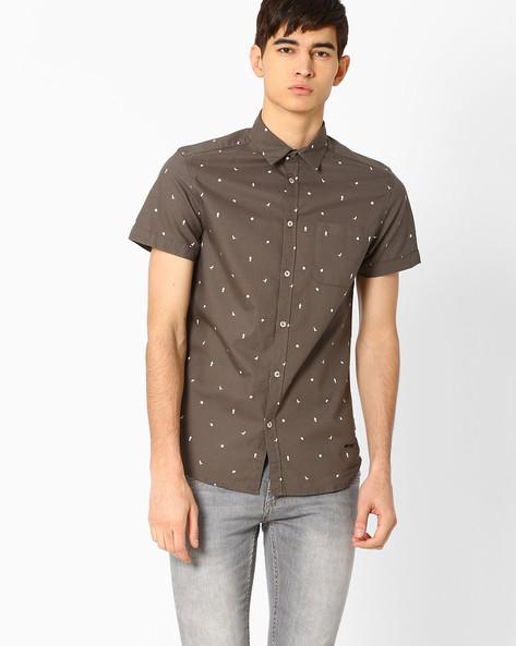 Slim Fit Printed Shirt By Jack & Jones ( Grey )