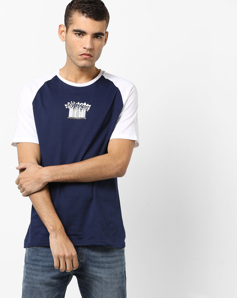 Graphic Print T-shirt With Raglan Sleeves By AJIO ( Blue )