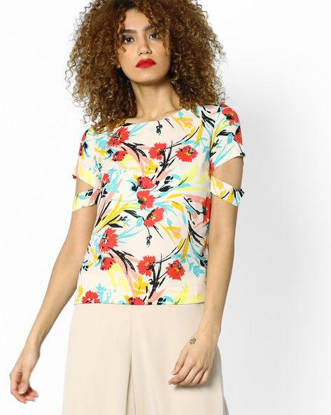 Floral Print Top With Cutouts By AJIO ( White )
