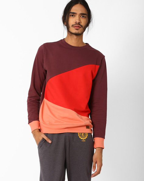 Colourblock Crew-Neck Slim Sweatshirt By Blue Saint ( Red )