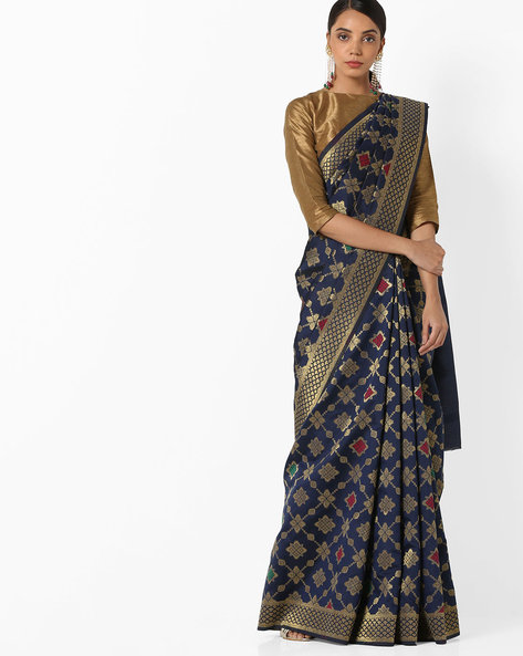 Banarasi Woven Saree With Zari Border By Parmita ( Navyblue )