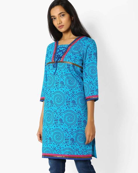 Printed Kurta With Tie-Up By Jiyaa ( Turquoise )