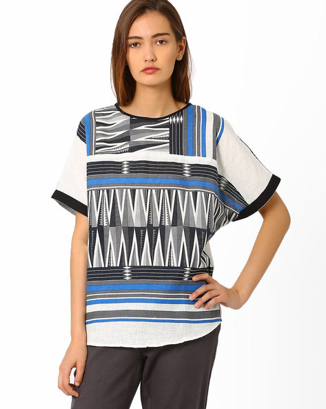 Aztec Print Top With Button Placket By And ( Multi )