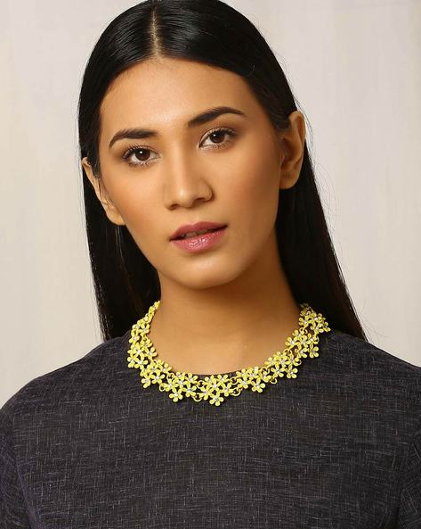 Floral Metal Necklace By Indie Picks ( Yellow )